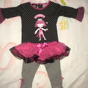Tulle legging pants with Belle sleeve top 0-3m